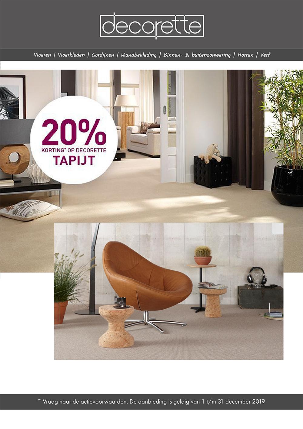 Decorette 20% korting tapijt