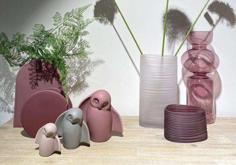 set van drie uilen van keramiek